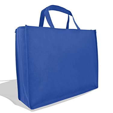 """DALIX 20"""" Extra Large Reuseable Shopping Grocery Tote with Zipper In Royal Blue-12 PACK"""