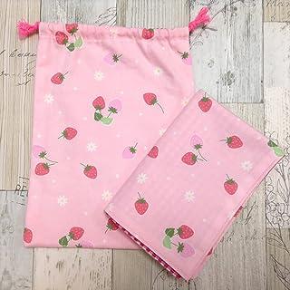 Jam's Ukulele SWK-191-2 / 給食袋&ナフキンセット 巾着袋 ピンク いちご 綿 女の子 ランチマット ランチクロス 入学準備 入学祝い 学用品 給食ナフキン ハンドメイド 手作り プレゼント
