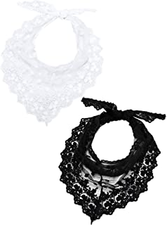 2 Pieces 1950s Retro Lace Scarf Triangle Neck Scarf Embroidered Lace Wrap Hair Wrap for Women