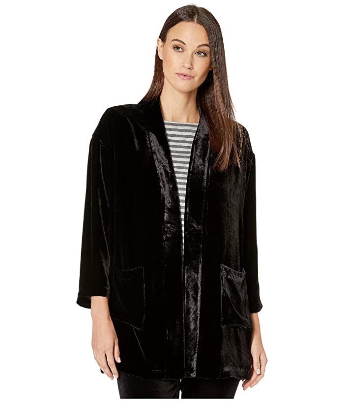 Vintage Coats & Jackets | Retro Coats and Jackets Eileen Fisher Velvet Kimono Jacket Black Womens Clothing $349.20 AT vintagedancer.com