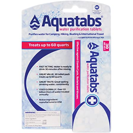 Aquatabs Water Purification Tablets for Camping and Emergency Preparedness, 30-Pack, One Color, One Size