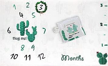Extra Thick Fleece Cactus Baby Monthly Milestone Blanket Large 60