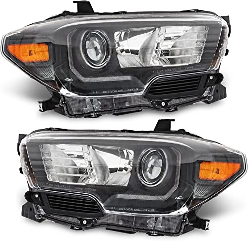 discount ALS outlet sale Replacement For Tacoma 2016 2017 2018 2019 2020 2021 sale TRD pro Suit for LED Headlights Headlamp Assembly Black Housing Amber Reflector Replacement Passenger and Driver Side sale