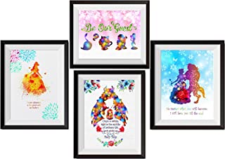 Uhomate 4 pcs Set Beauty and the Beast Princess Belle Beauty Beast Canvas Wall Art Anniversary Gifts Baby Gift Inspirational Quotes Wall Decor for Living Room Wall Decorations for Bedroom M027