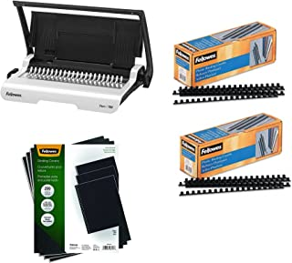 Fellowes Binding Machine Star+ Comb Binding (5006501), Binding Linen Presentation Covers, 200 Pack (5217001) and Plastic Comb Binding Spines, 3/8 inch Diameter, 55 Sheets, 200 Pack (52325)