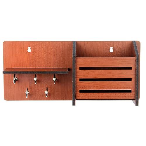 Sehaz Artworks Side-ShelfPocket-Brown-KeyHolder Wooden Key Holder (7 Hooks) (Brown)