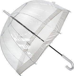 Clifton Umbrellas A6-LR800-SIL Silver Trim Clear PVC Birdcage windproof Umbrella, Silver