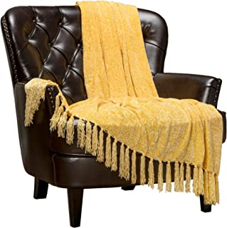 Chanasya Chenille Velvety Texture Decorative Throw Blanket with Tassels Super Soft Cozy Classy Elegant with Shimmer for Sofa Chair Couch Bed Living Bed Room Sunny Throw Blanket (50x65) - Yellow