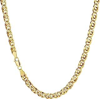 Collana a catena in oro giallo 750 18kt, larghezza 5 mm, lunghezza a scelta