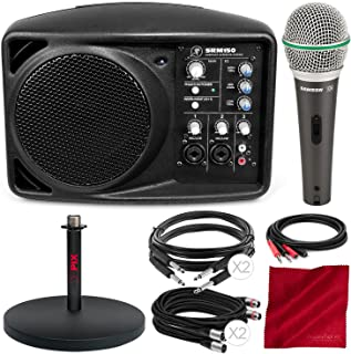 Mackie SRM150 5.25-Inch Compact Active PA System (Black) and Deluxe Accessory Bundle with Dynamic Microphone + Mic Stand + 5X Cables + Fibertique Cloth