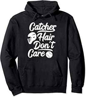 Funny Softball Hoodie Catcher Hair Don't Care Fastpitch Gift