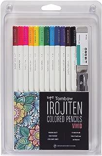 Tombow 51528 Irojiten Colored Pencil Set, Vivid. Includes 12 Premium Colored Pencils, Sharpener, and Colored Pencil Eraser
