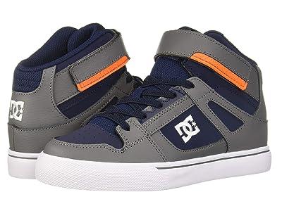 DC Kids Pure High-Top EV (Little Kid/Big Kid) (Grey/Dark Navy) Boys Shoes