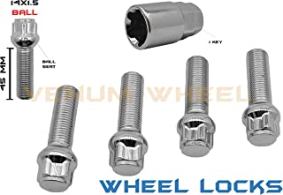 5 Pc Chrome Wheel Locks Lug Bolts | 45 MM Shank | M14x1.5 | Ball Seat | For Factory Wheels | Compatible With 1992-1999 Mercedes Benz W140 Chasis S320 S400 S420 S500 S600
