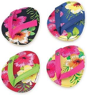 Drinkwear, Flip Flop Coasters, Set of 4 (Hibiscus Hula)
