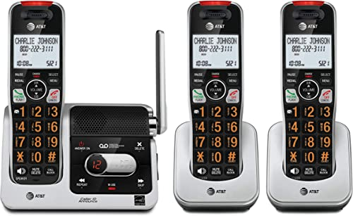 AT&T BL102-3 DECT 6.0 3-Handset Cordless Phone for Home with Answering Machine, Call Blocking, Caller ID Announcer, A...