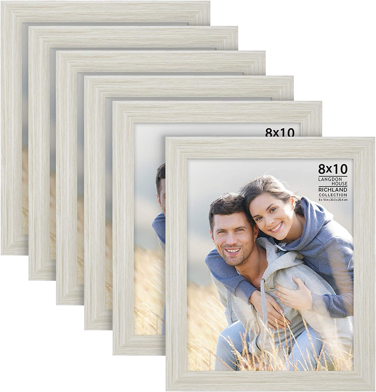 Langdon House 8x10 Picture Frames (Almond White, 6 Pack) Woodgra