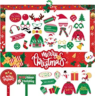 42 PCS Christmas Photo Booth Prop Frame and Christmas Photo Booth Props Kit for Adults Kids Christmas Party Favors Decorations Decor Supplies