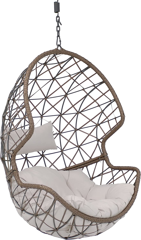 Bombing new work Sunnydaze Danielle Hanging Egg Chair Wicker Basket Swing Gorgeous Resin