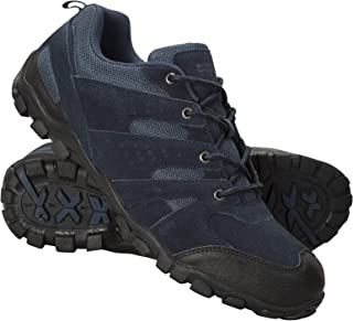Outdoor Mens Walking Shoes - Suede Hiking Shoes Navy 10 M US Men