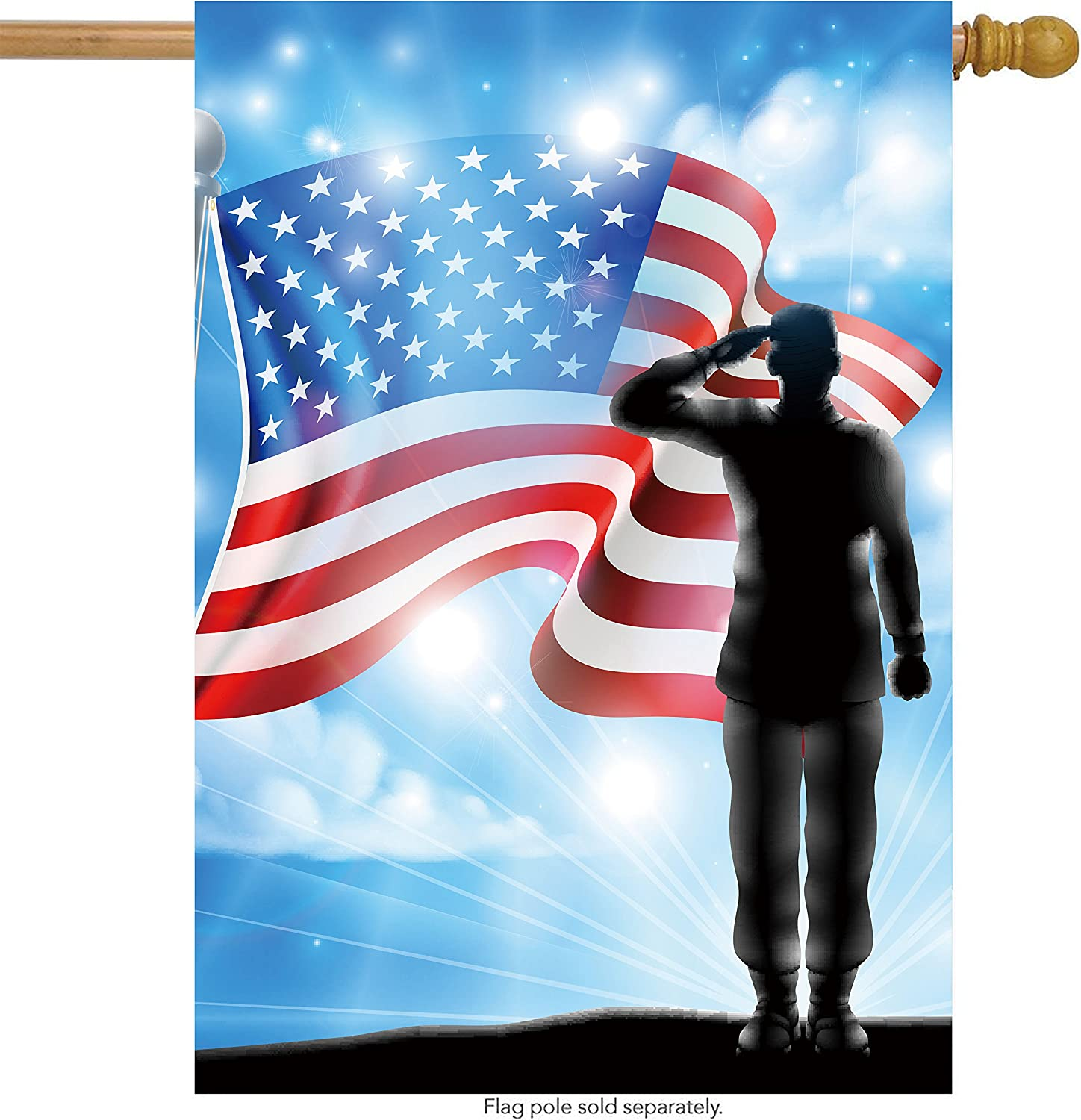 ShineSnow American Flag Veterans Day Genuine 5 ☆ very popular Free Shipping Military Soldier House