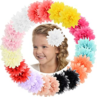 """ALinmo Baby Girls Clips 24pcs 3.5"""" Chiffon Flower Clips Hair Barrettes Hair Pins Hair Accessories for Baby Girls Infants Teens Toddlers Kids Set of 12 Pairs"""