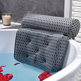 Bath Pillow Bathtub Pillow - Bath Pillows for Tub with Neck, Head, Shoulder and Back Support - 4D Air Mesh Spa Pillow for ...