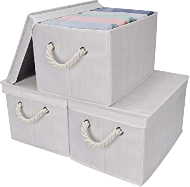 StorageWorks 32L Storage Bins with Lids, Decorative Storage Boxes with Lids and Cotton Rope Handles, Mixing of Beige, White &