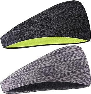 COOLOO Mens Headband, 2 Pack Guys Sweatband Sports Headband for Men Women Unisex, Performance Stretch & Moisture Wicking for Running Work Out Gym Tennis Basketball
