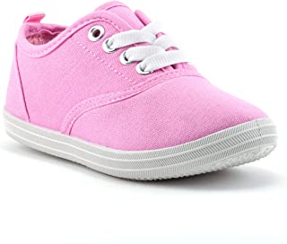 Sugar & Spice Girls Canvas Fashion Sneaker, Lace up, Breathable, Rubber Sole