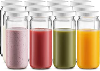 Travel Glass Drinking Bottle Jar 16 Ounce [12-Pack] Plastic Airtight Lids, Reusable Glass Water Bottle for Juicing, Smooth...