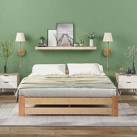 ModernLuxe Lit futon solide en bois massif naturel avec tête de lit et sommier à lattes Couleur bois (140 x 200 cm)