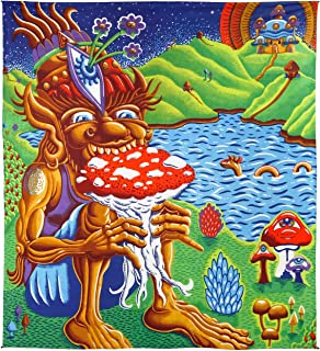 Sunshine Joy 3D Shroom Muncher Tapestry Trippy Wall Art by Chris Dyer Huge Queen Size 85x100 Inches