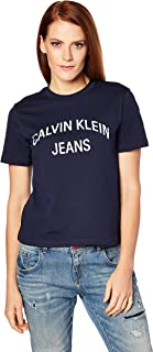 Calvin Klein Jeans Women's Institutional Curved Logo Straight T Shirt