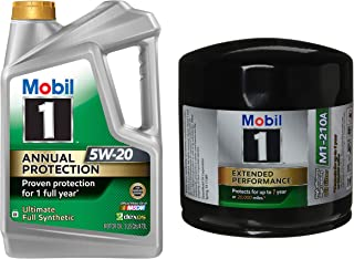 Mobil 1 Annual Protection Synthetic Motor Oil 5W-20, 5-Quart, Single Bundle M1-210A Extended Performance Oil Filter