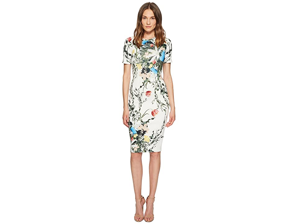 YIGAL AZROUEL Multi Floral Scuba Bodycon Dress (Optic Multi) Women