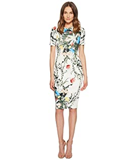 Multi Floral Scuba Bodycon Dress