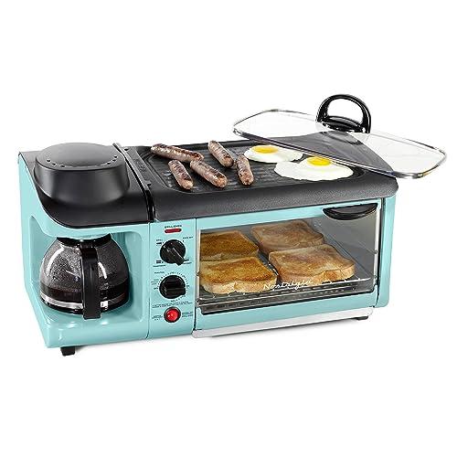 Attrayant Nostalgia BSET300AQ Retro 3 In 1 Family Size Breakfast Station Aqua