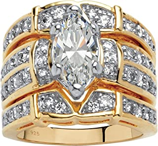 18K Yellow Gold over Sterling Silver Marquise Cut Cubic Zirconia 3 Piece Mutli Row Bridal Ring Set
