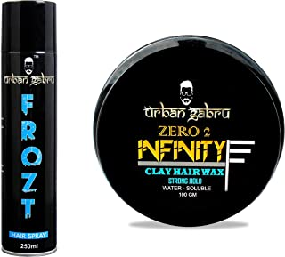 UrbanGabru Frozt Hair Spray Extreme Hold for Women & Men| No Gas| Freeze Hair and Urbangabru Hair Wax Zero To Infinity For Strong Hold And Volume 100 Grams