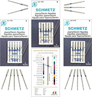 Denim Needle for Sewing Machine Variety Pack, (Sizes 90/14, 100/16, and 110/18), Perfect for Jeans, Denim, Canva, and Othe...