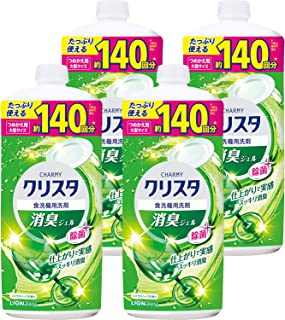 【Amazon.co.jp 限定】【まとめ買い】チャーミークリスタ 消臭ジェル 食洗機用洗剤 詰め替え840g×4個セット