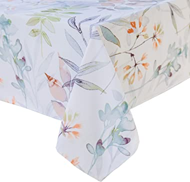 """Benson Mills Indoor Outdoor Spillproof Tablecloth for Spring/Summer/Party/Picnic (Botanica, 52"""" X 52"""" Square)"""