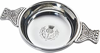 Wentworth Pewter - Thistle Pewter Quaich Whisky Tasting Bowl Loving Cup Burns Night