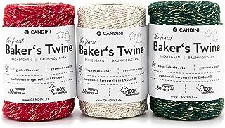 Candini Bäckergarn Gold | Rot/Grün/Weiß Set | 3 x 50m | weiches Bastelgarn aus Baumwolle - Premium Qualität aus England - Bakers Twine, Bastelschnur, Baumwollschnur, Geschenkband