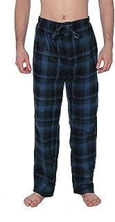 Men's PJ Pajama Fleece Lounge Plaid Bottoms Pants Microfleece (Single or 3 Pack), 12 Colors