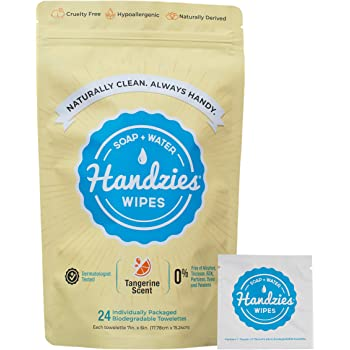 Handzies Natural Soap and Water Hand Wipes, Individually Packaged, Alcohol Free, Hypoallergenic, Tangerine Scent, 24 singles