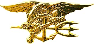 Naval Special Warfare Insignia Pin US Navy SEAL Team Trident Military USN Mini Lapel Gold (1.5 inches)