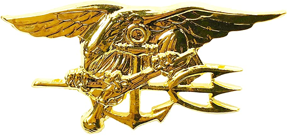 Gold US Navy SEAL USN Trident Insignia Mini Pin (1.5 inches) Special Warfare