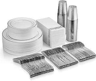 Juego de vajilla de 350 piezas de plata – 50 platos de plástico con borde plateado – 50 cubiertos de plástico plateado – 5...